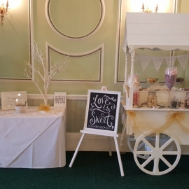 wedding-venue-decorations-birmingham-amy-victoria-sweet-cart-post-box-and-tree-gold-decor
